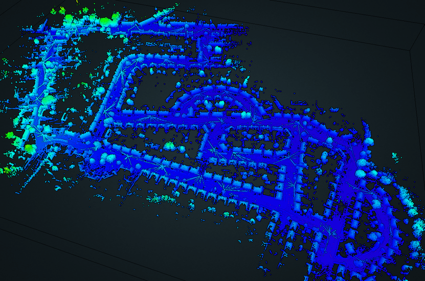 point cloud data collected with the ZEB Horizon mounted to a car
