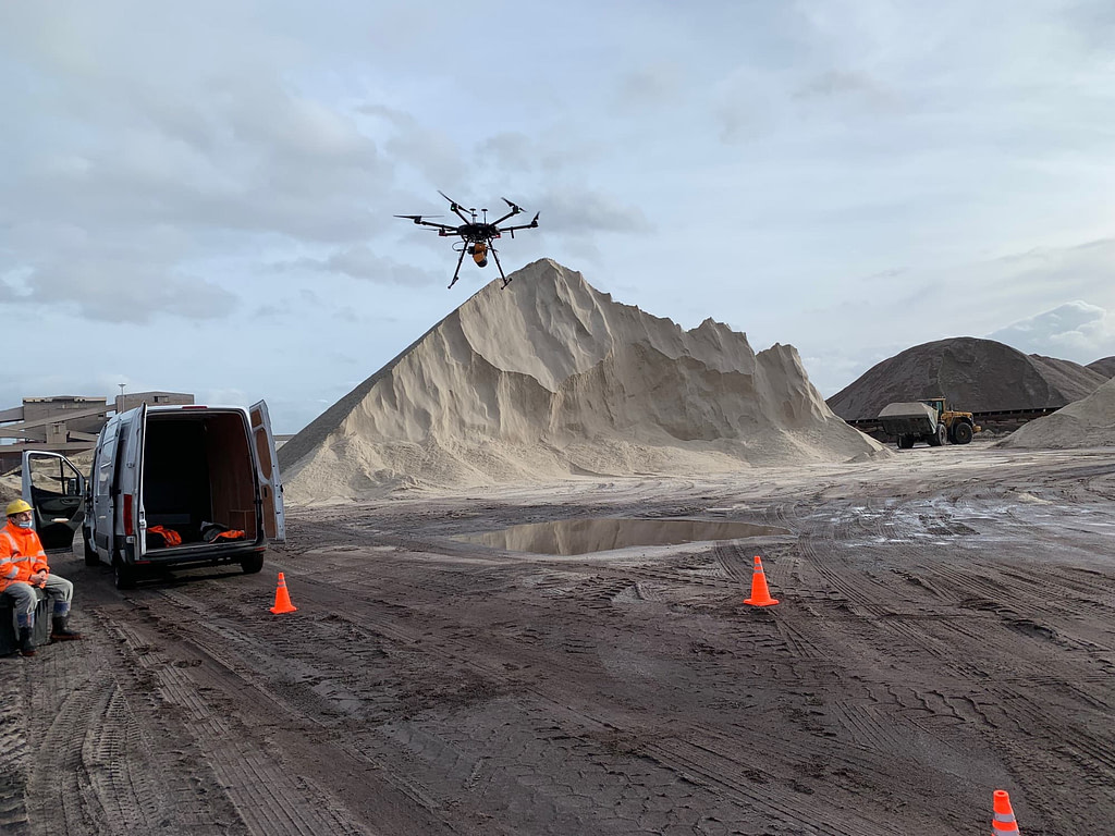 Measuring stockpile volumes using the ZEB Horizon mounted to a drone